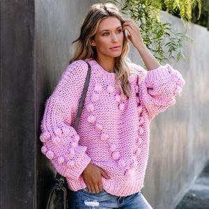 Pink Knit Heart Pom Pom Sweater